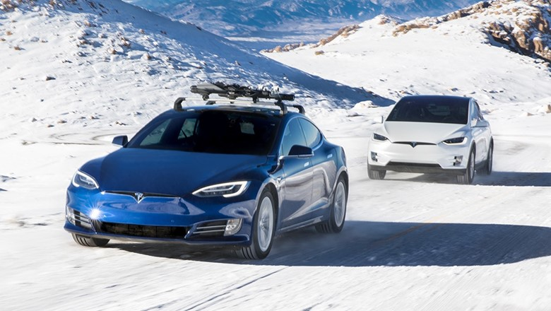 Test drive a Tesla in the snow